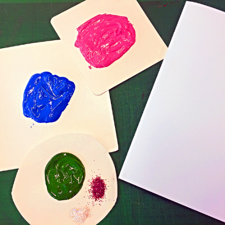 Pink, blue & green poster paint on three separate pieces of card